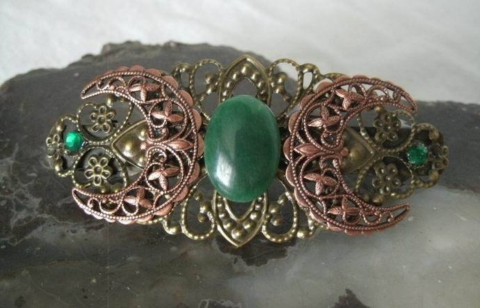 Copper Triple Moon Goddess Barrette