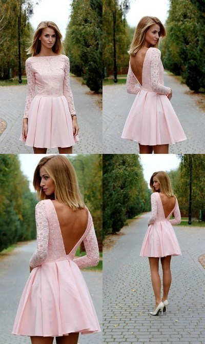 73b5c06ab7 Pink lace Homecoming Dress