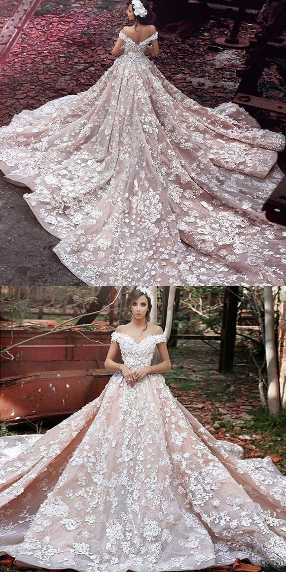 glamorous off the shoulder long train wedding by Hiprom on Zibbet