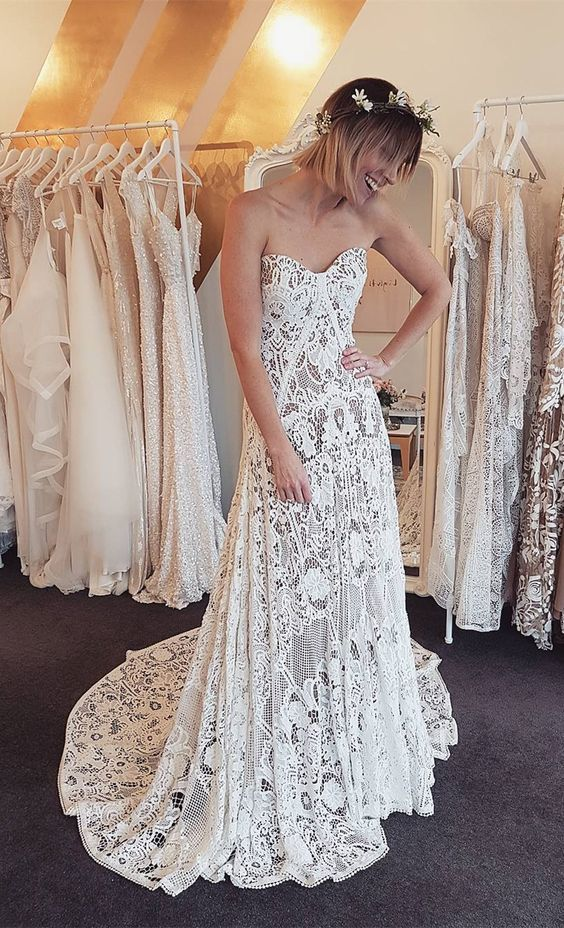 unique lace beach wedding dresses, simple by Hiprom on Zibbet