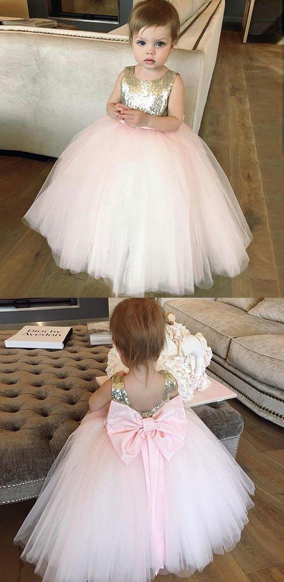 ca83dd0fab Ball Gown Bateau Pink Tulle Flower Girl Dress by MeetBeauty on Zibbet
