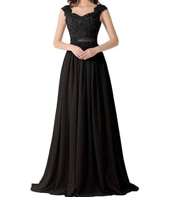 A-line Sweetheart Sweep Train Chiffon Appliqued Beaded Black Prom Dresses