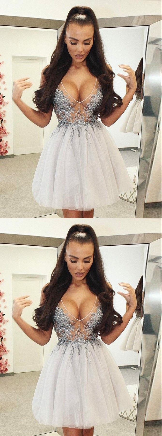 Sexy Short A-Line, V-Neck Short Ivory Tulle Homecoming Dress with Beading