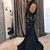 Elegant Mermaid Open Back Sweep Train Evening Dress,Black Lace Prom Dress,Long