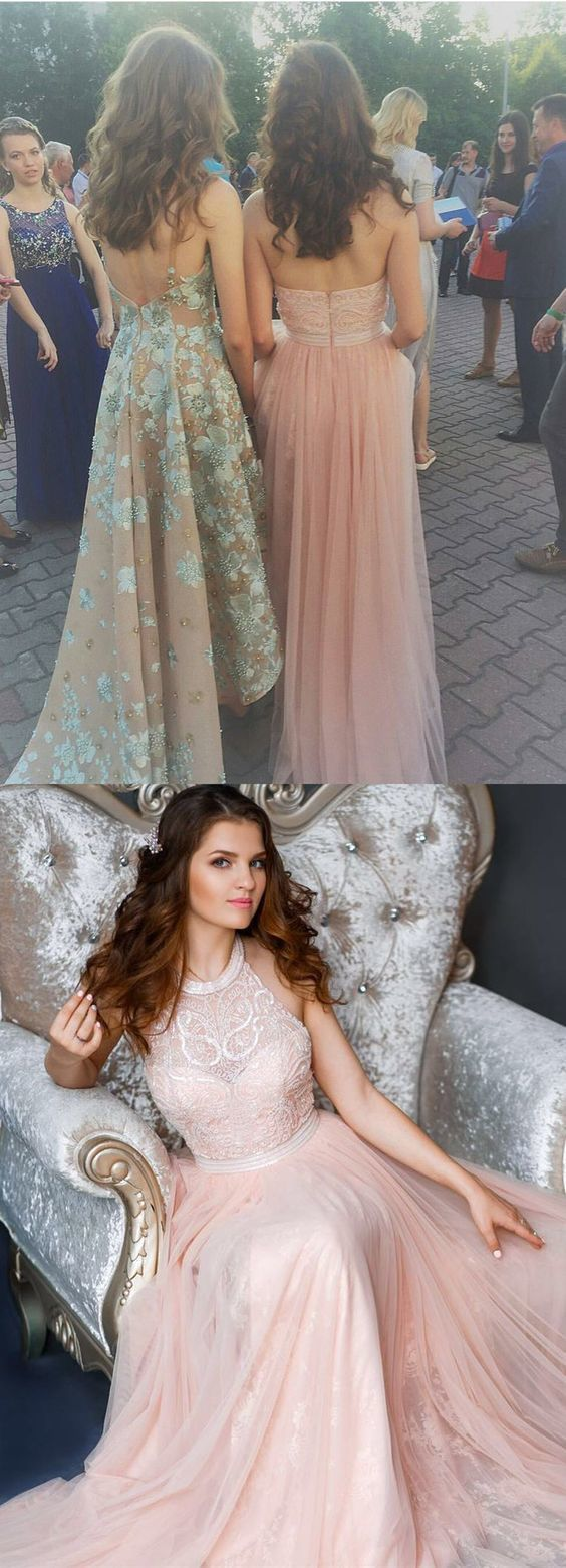 Halter Pink Long Prom Dress Evening Dress
