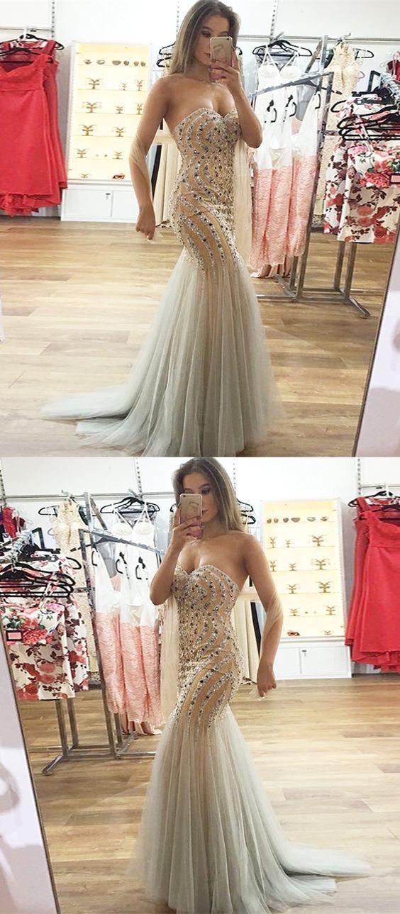 Mermaid Sweetheart Sweep Train Light Champagne Prom Dress with Beading