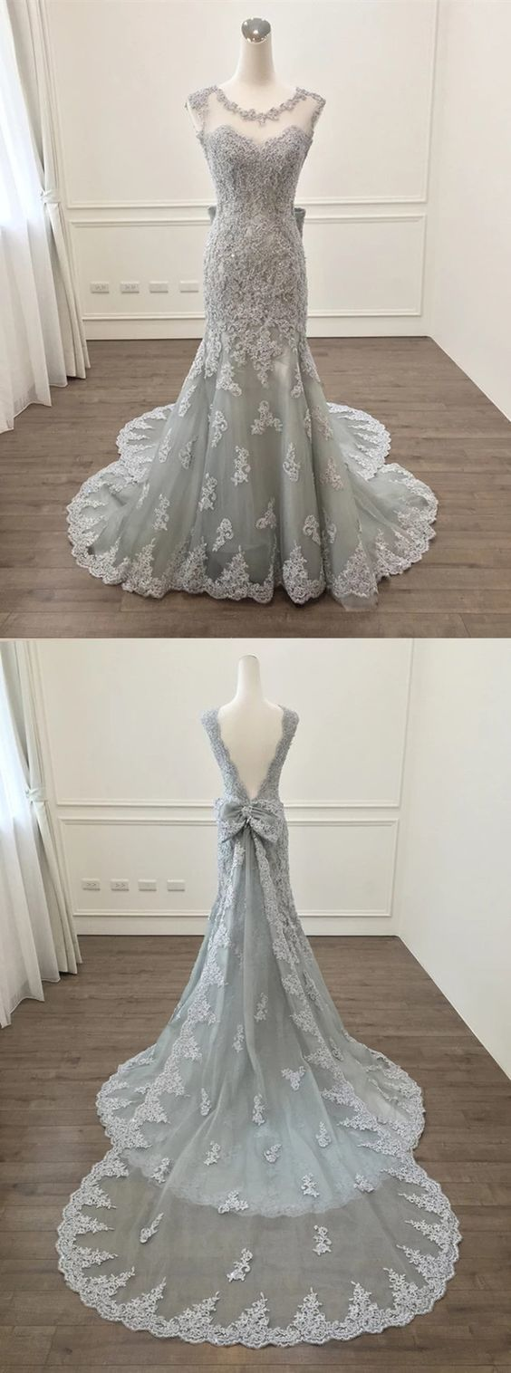 Elegant Silver Lace Bow Back Mermaid Evening Gown Dresses