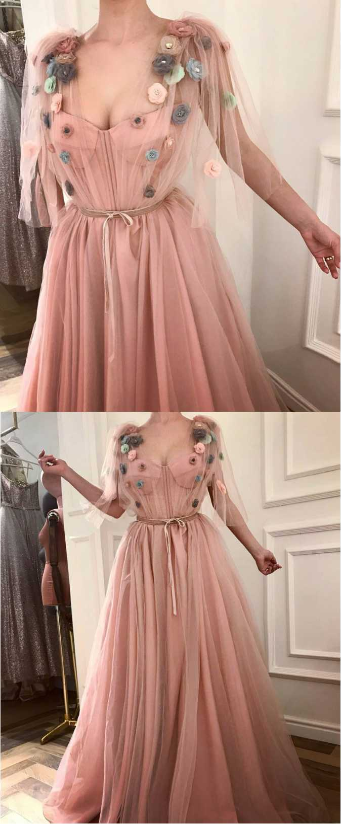 Pink Off the shoulder Tulle Applique with Satin Belt Prom Gown Dress,Backless