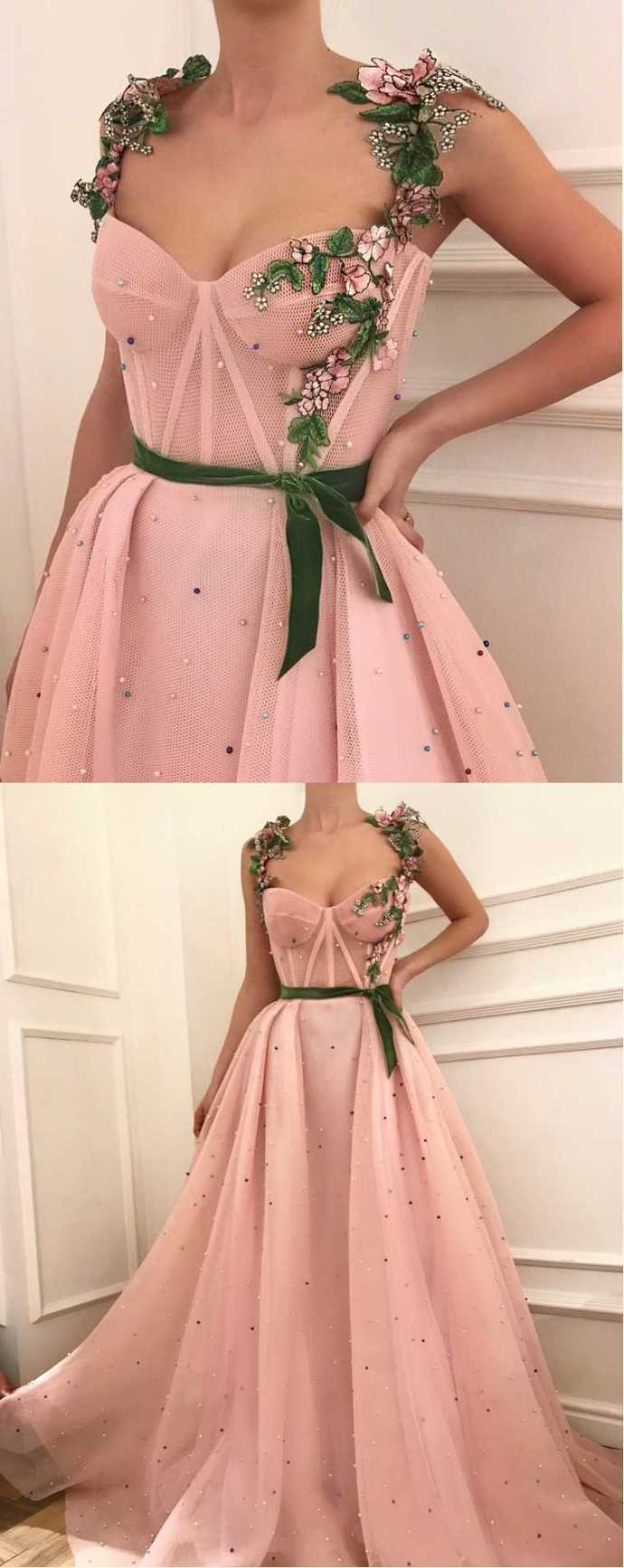 Sexy Tulle Applique with Green Belt,Beading Prom Dresses,Applique Evening Gown