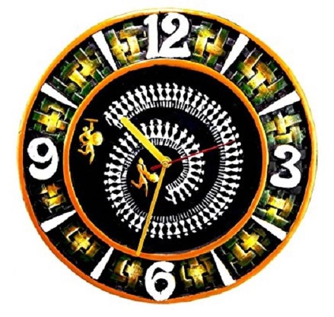 Terracotta clay handmade wall clock home decor handicraft item