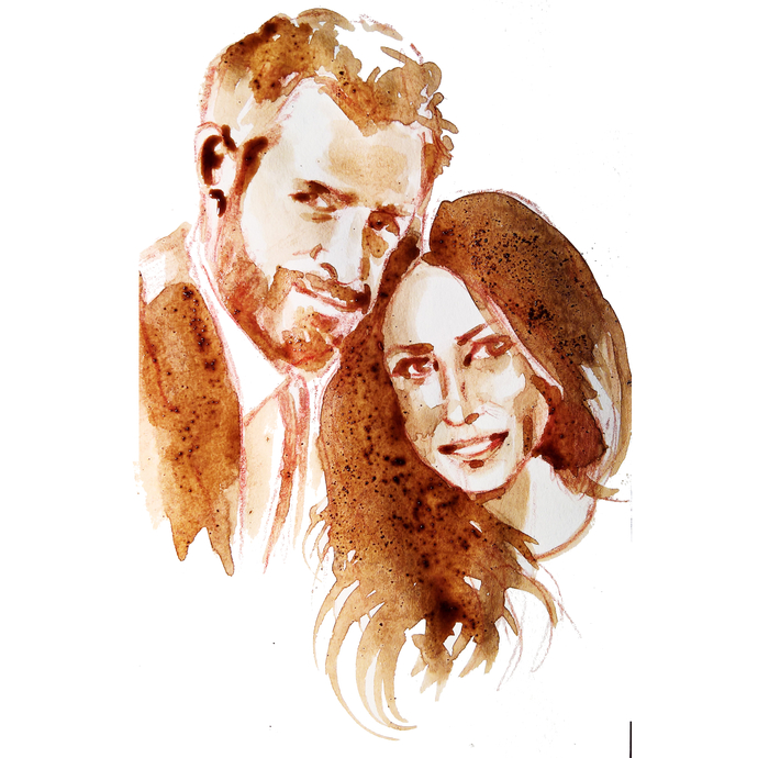 Prince Harry and Meghan coffee watercolor portrait by Yulia A. Korneva in honor