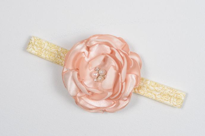 Infant Headband/0-6 Month/Foldover Elastic Headband - Pale Peach Satin Flower