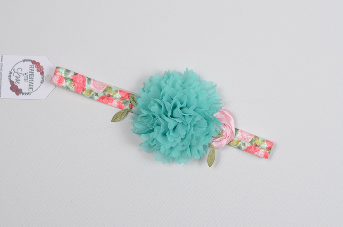 Infant/Toddler Headband//6-24 Month//Foldover Elastic Headband - Pink and Teal
