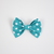 Large Cotton Bow Clip//Clip on Bow Tie - Teal Polka Dots