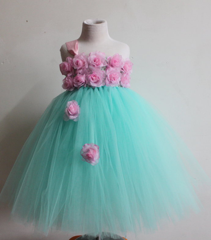 Baby Birthday Tutu Dress Princess Cyan Flower Gown Indian Kids Clothes