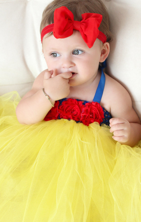 Yellow And Red Flower Girl Tutu Dress Baby 2nd Birthday Online