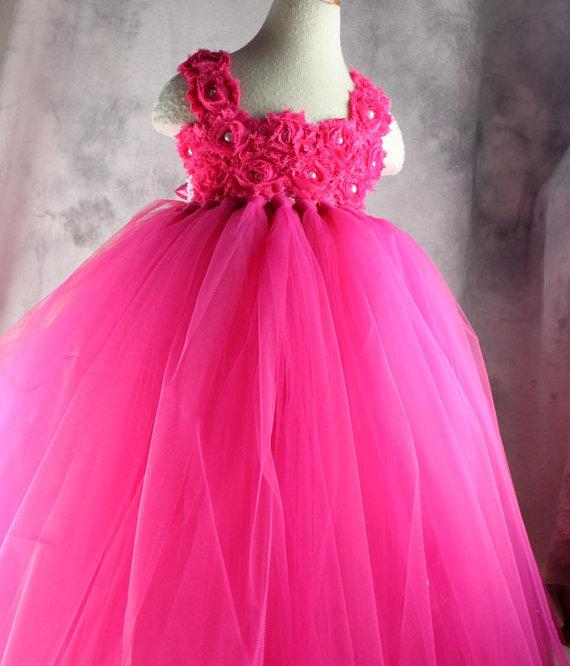 Pink Flower Girl Birthday Tutu Dress Princess Wedding Toddler Party