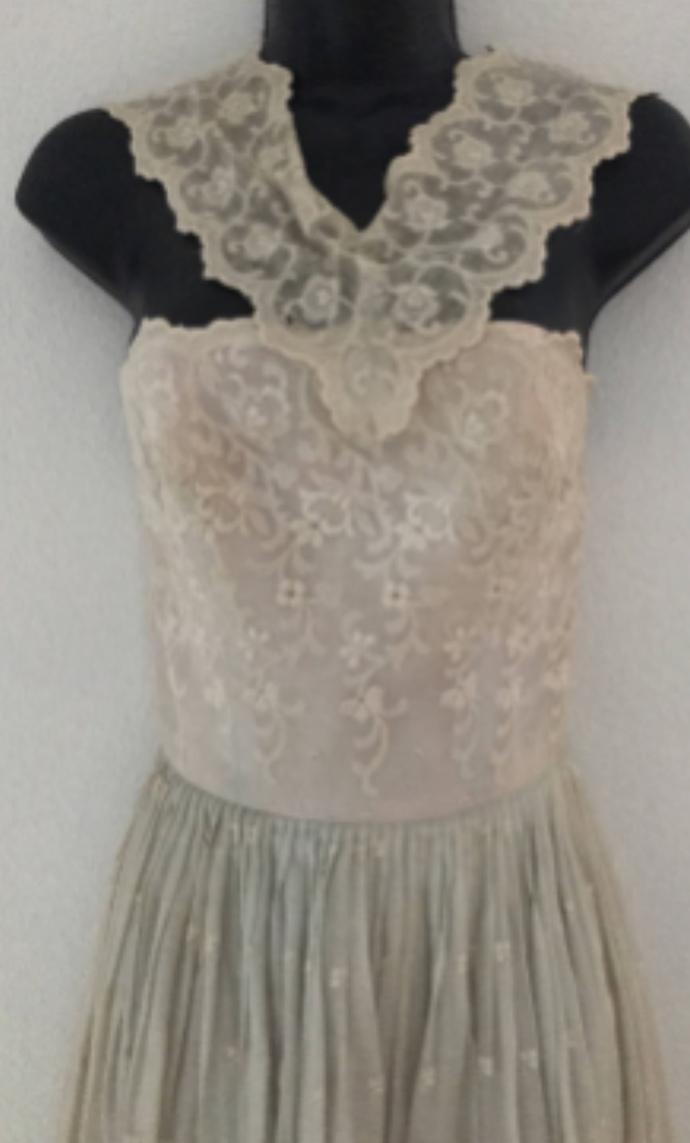 Vintage 50's Semont New York Silk Eyelet Sleeveless Dress