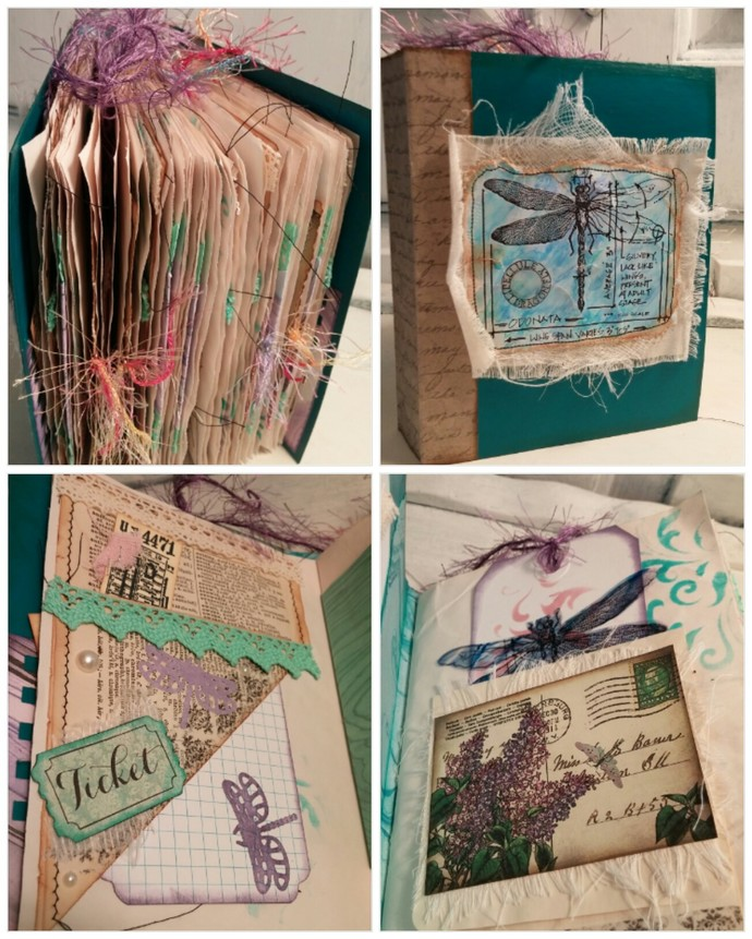 Recycled OOAK Teal Dragonfly Writing Junk Journal