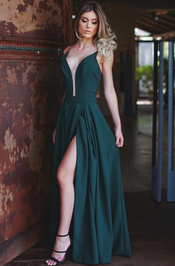 50d8e5cb6 Plunging Neck Prom Dresses,Green Prom Dress with by lass on Zibbet