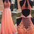 Coral Prom Dress, Long,Prom Dresses ,High Neck Evening Dress,Lace Applique Beads