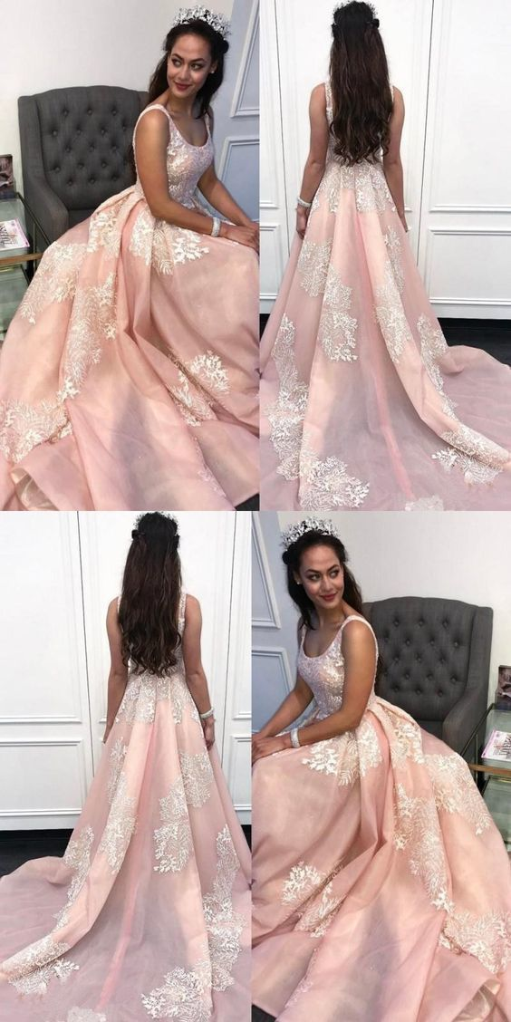 Sexy O-Neck Prom Dresses,Appliques A-Line Prom Dress, Long Pink Lace Prom Dress