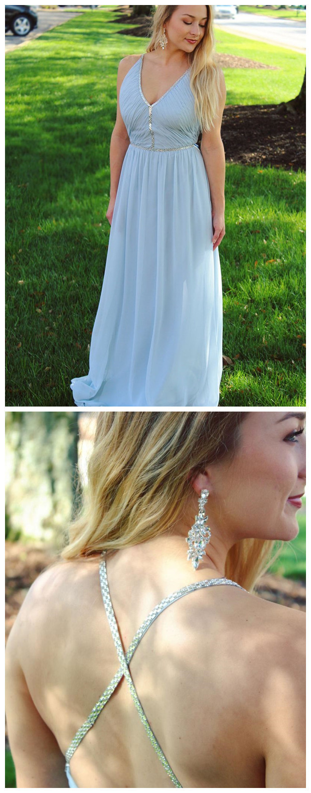 Long Chiffon Blue Beaded Prom Dresses V-Neck Maxi Mother of the Bride Dress
