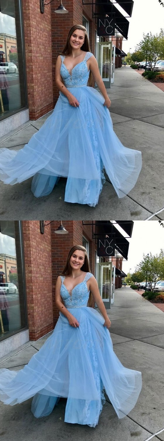 Light Blue Prom Dresses,A-Line Straps Prom Dress,Floor-Length Light Blue Prom