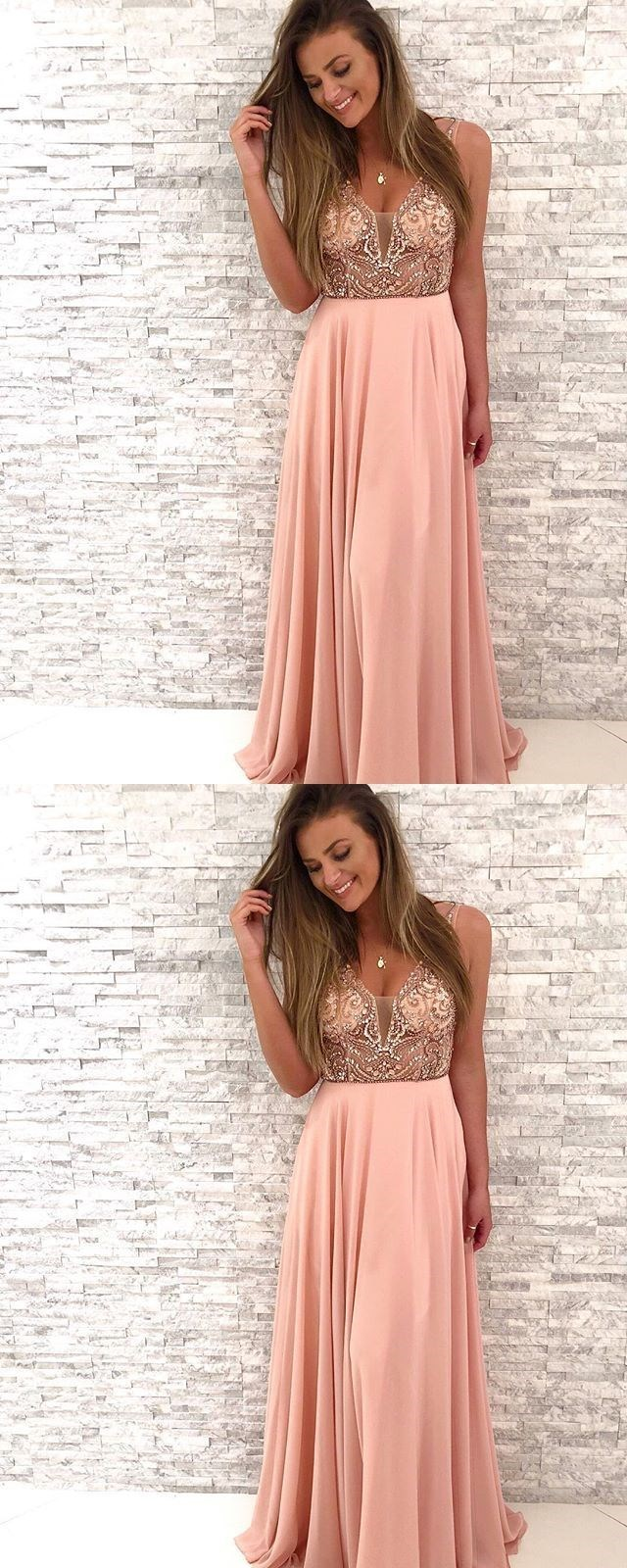 Gorgeous Beaded Prom Dresses,Pink Chiffon Long Prom Dress,V-Neck A Line Party