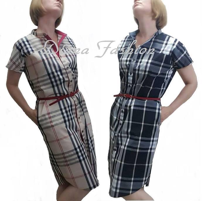 b641f0db1ca Cotton Check Shirt-Dress short sleeve+BELT by DianaFashion on Zibbet