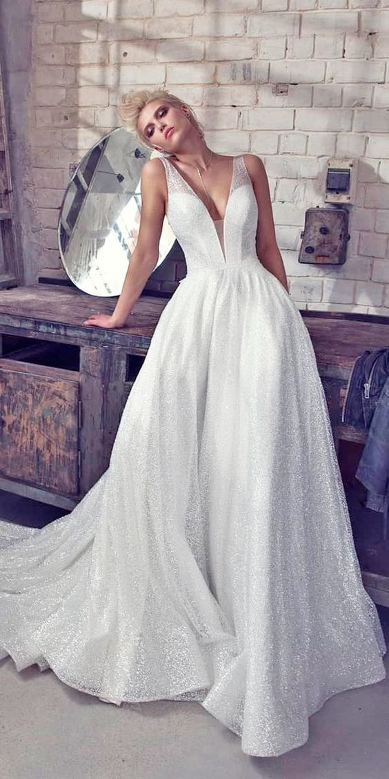 Deep V Neck Wedding Dress, Bridal Dress, Applique Wedding Dress, Simple Design