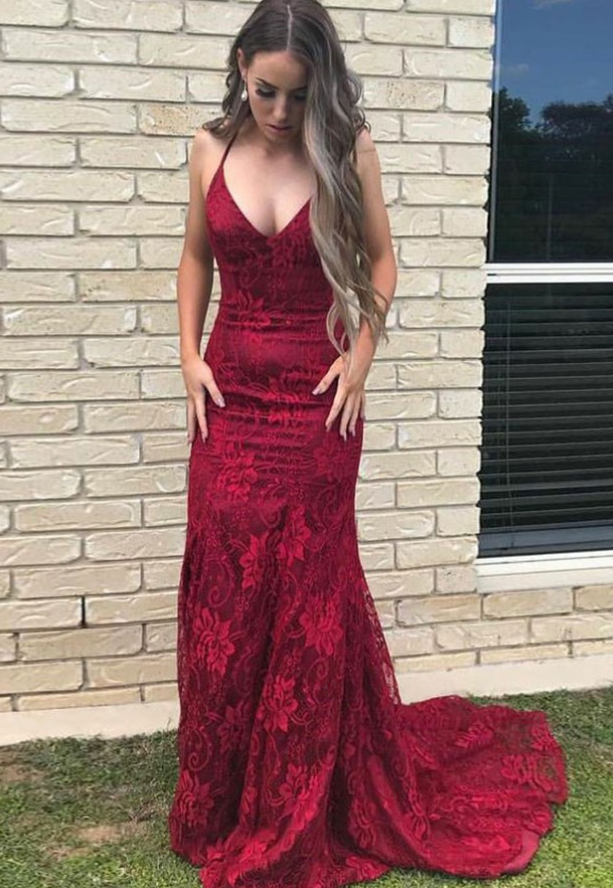 Mermaid Halter Sweep Train Red Lace Prom Dress