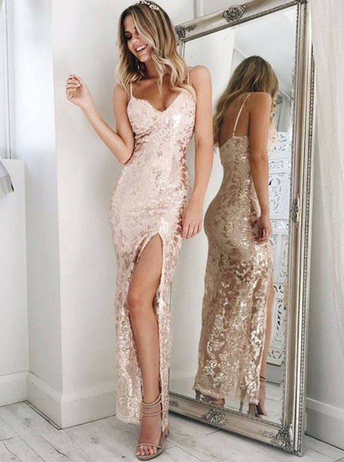 Sheath Spaghetti Straps Pink Lace Prom Dress with Sequins