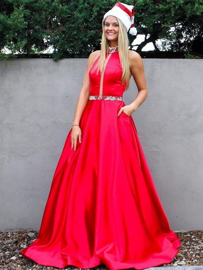 5fb6bb0cc0 Long Prom Dresses High Neck A-line Floor-length Rhinestone Sexy Red Prom  Dress