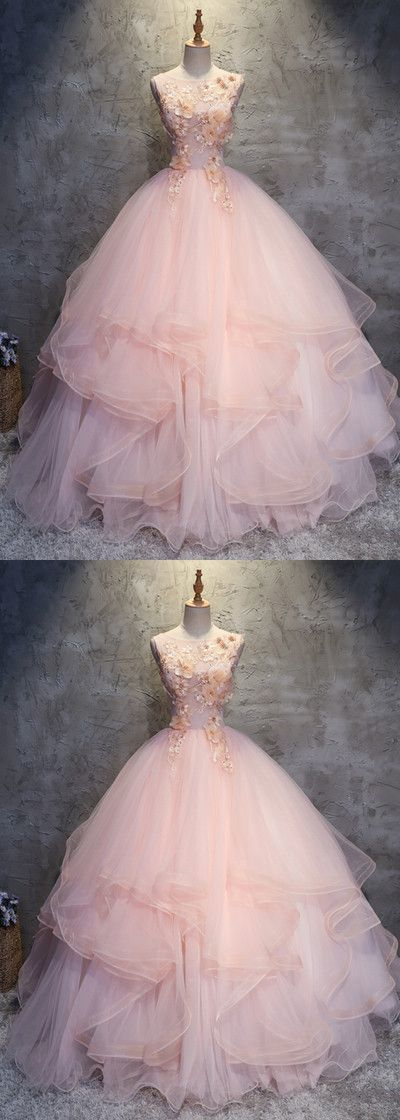 Fashion Pink Round Neck A-Line Tulle Long Prom Evening Dress