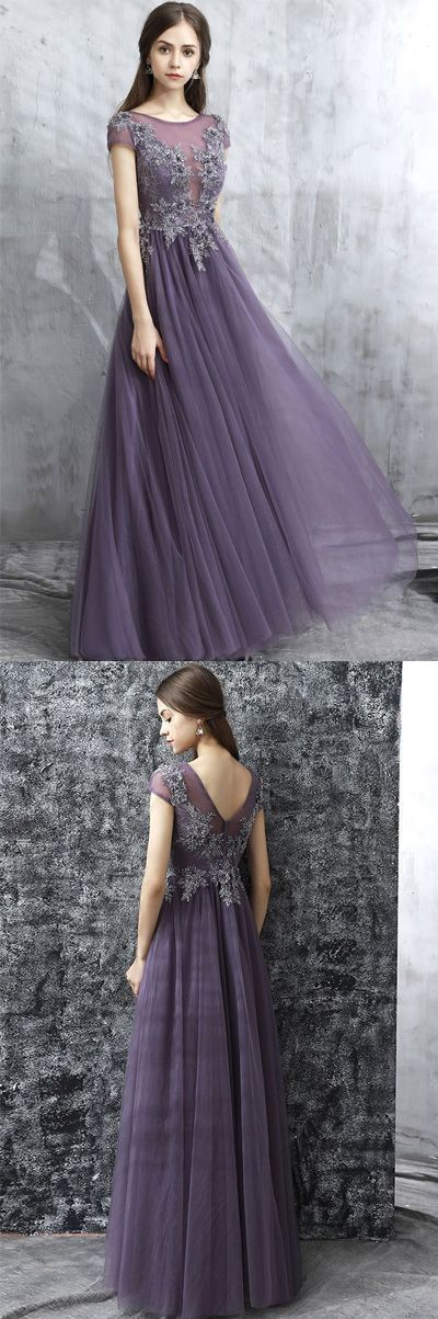 Fashion Grey Round Neck A-Line Tulle Long Prom Evening Dress