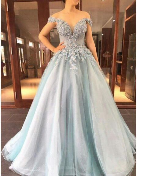Charming Tulle Prom Dress, Sexy Long Appliques Evening Dress, Formal Dress