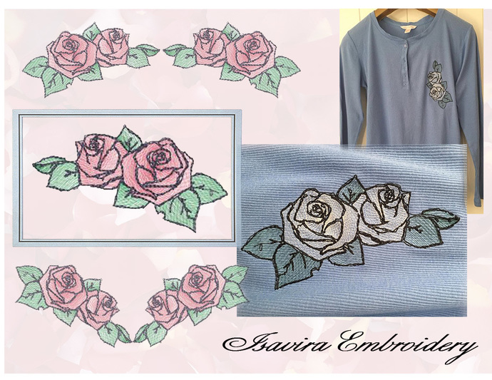 Machine embroidery design 'Roses' from series 'Diaphanous roses', Vintage,