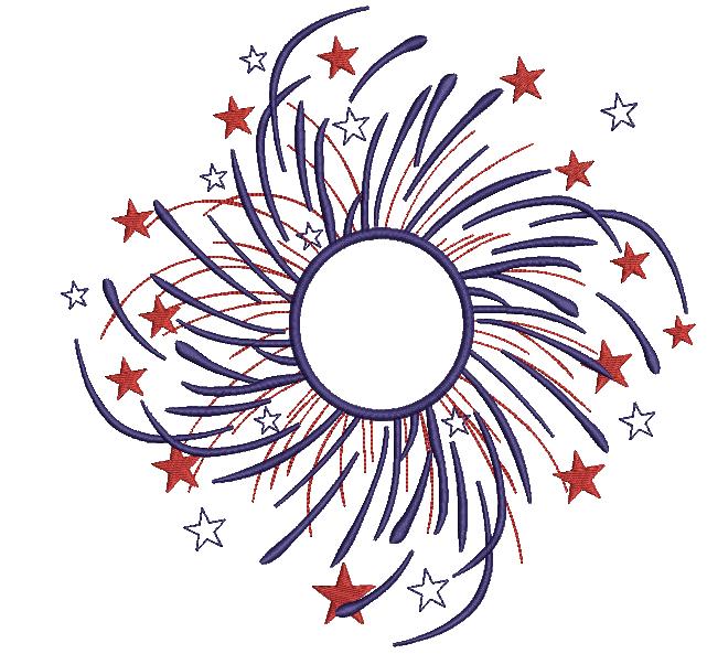 Fireworks Circle monogram frame embroidery machine design Patriotic usa designs