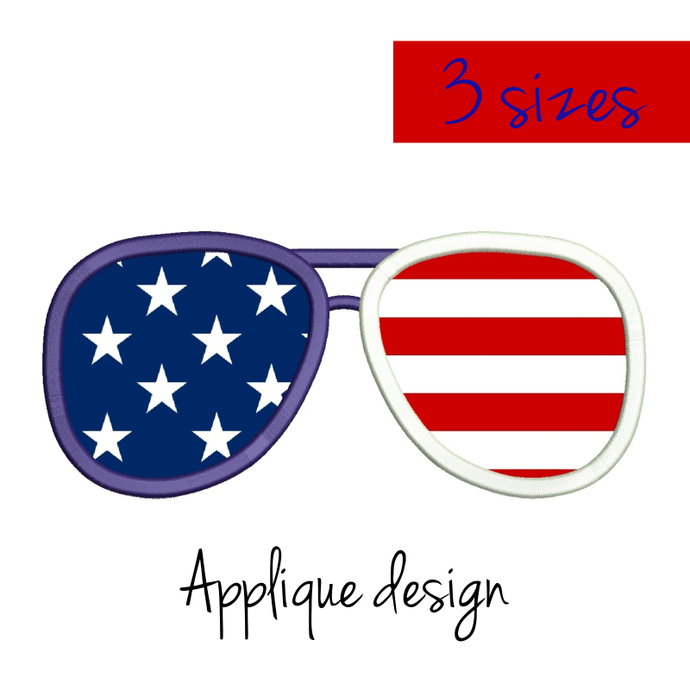 Machine Embroidery Designs USA glasses applique Independence Day 4th of July