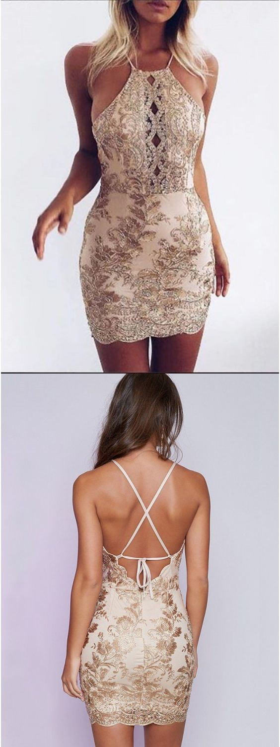 Spaghetti straps cocktail dress, mermaid short prom dress, backless homecoming