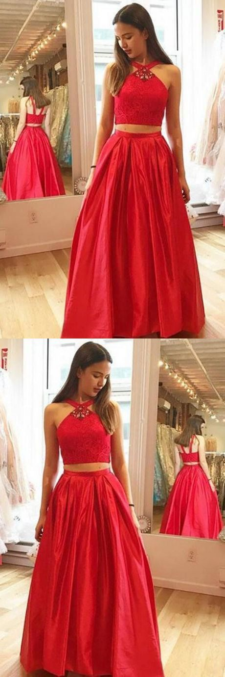 Two Piece Cross Neck Floor-Length Red Prom Dress with Beading