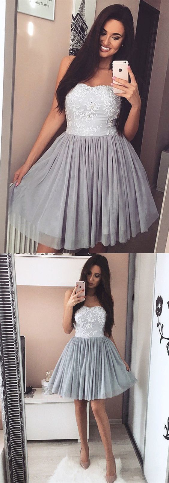 cute a-line lace appliques homecoming dress, sweetheart pleated tulle short prom