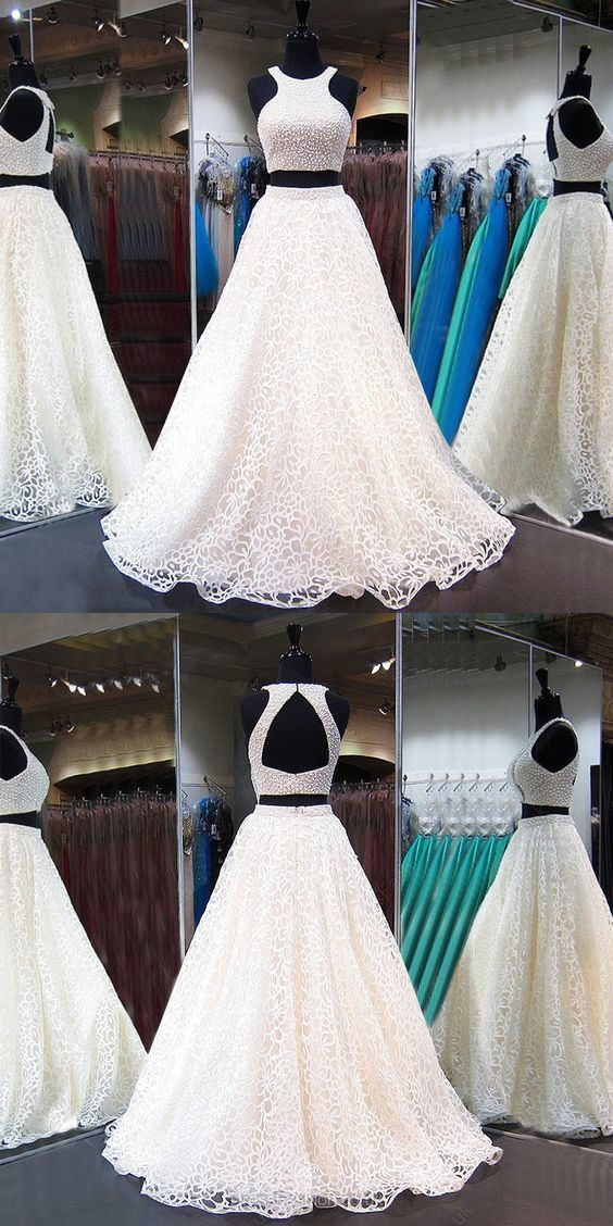 Two Piece Jewel White Lace Prom Dress with Beading Pearls Open Back
