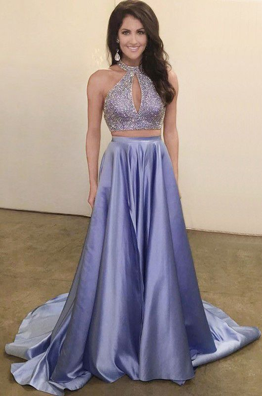 Two Piece Jewel Keyhole Sweep Train Lavender Satin Prom Dress with Beading