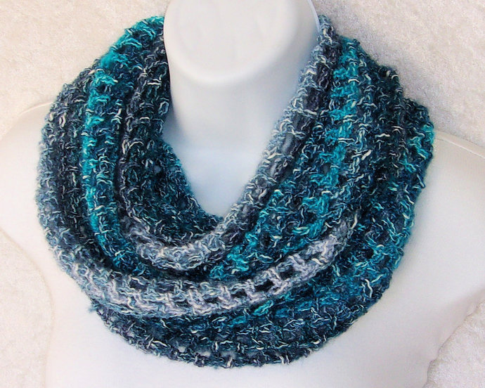 Infinity Moebius Scarf, spiral crocheted in Blue Tidewater Shades lightweight