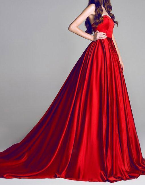 Beautiful Red Prom Dresses Sweep Brush Train Sweetheart Long Prom Dress Evening