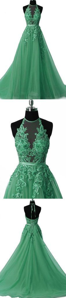 Simple Prom Dress,Green Tulle Prom Dress,Halter Evening Dress ,Floor Length Prom