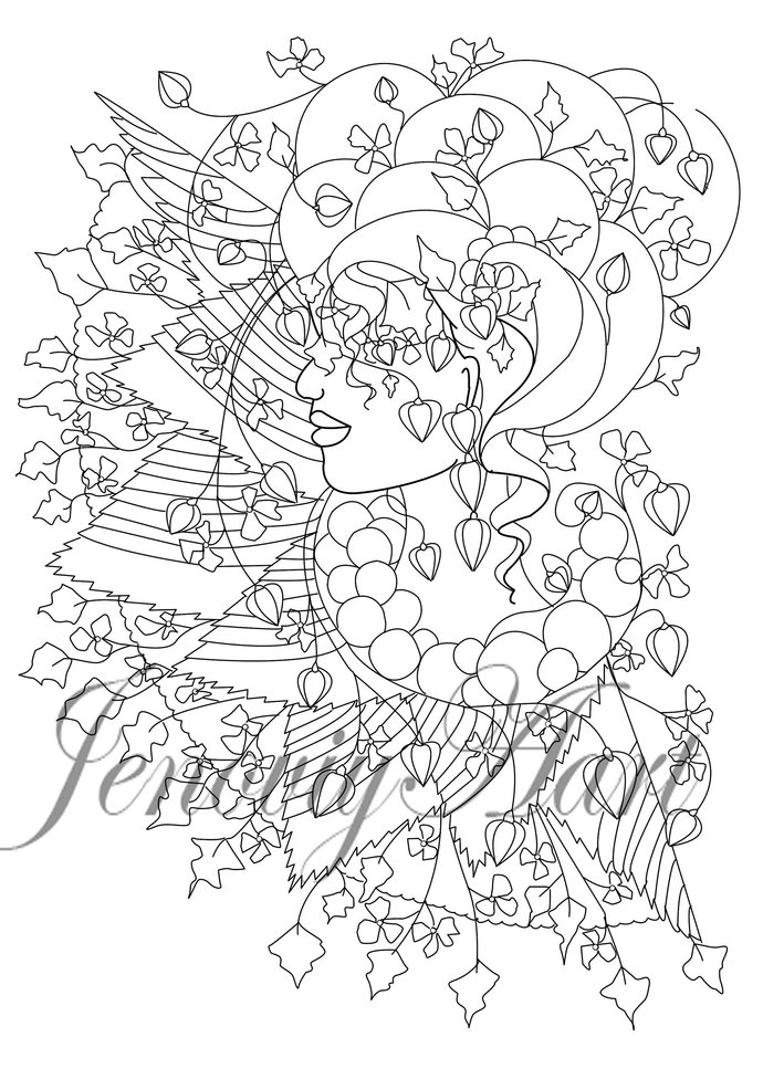 Coloring Page Unusualness Print Hand draw Gray scale PDF Zen Coloring Page Art
