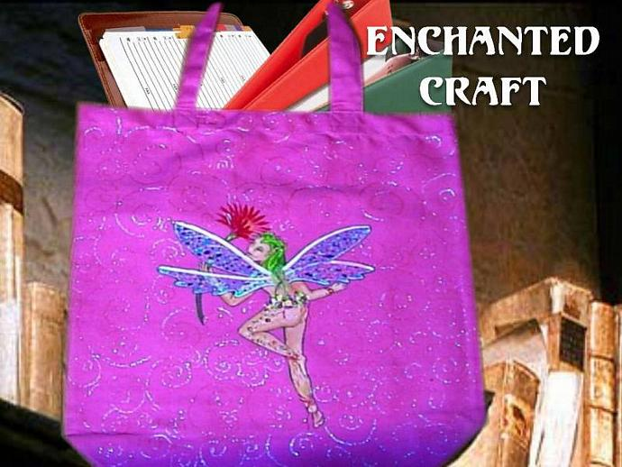 hand painted FAIRY tote, bag, or shopping bag- get your name on it